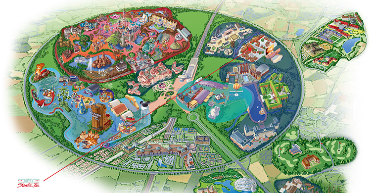 Oversigtskort over Disney's Hotel Santa Fe